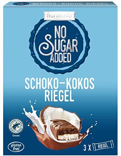 frankonia CHOCOLAT NO SUGAR ADDED Schoko-Kokos Riegel, 100 g (3x33 g)