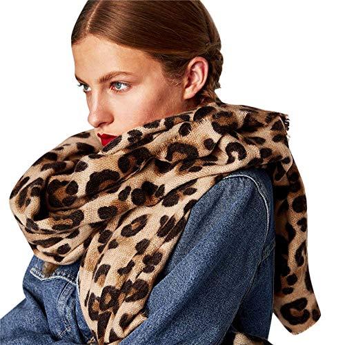 Jaysis Schal Damen Winter XXL, Damen Warm Leopard Gedruckt Lange Wolle Schal Weiche Lange Halstuch Herbst Pashmina Baumwolle Leinen Warm Halten Halstuch Schals