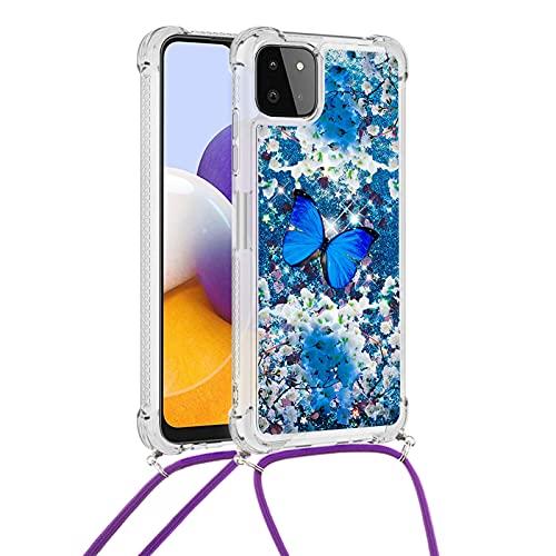 Yewos Cover per Samsung Galaxy A22 5G,Glitter Liquido Brillantini Sabbia Custodia con Collana/Cordino Tracolla,Morbida Silicone Trasparente TPU Bumper Protettiva Antiurto Caso,Farfalla Blu