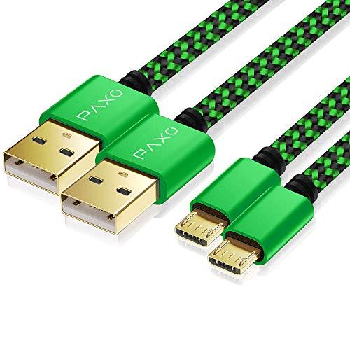 2X 4m câble Chargeur PS4 en Nylon pour Playstation 4 Controller, câble Micro USB, câble Chargeur Micro USB, Micro USB, Gaine en Tissu, Prise en Aluminium, Vert-Noir