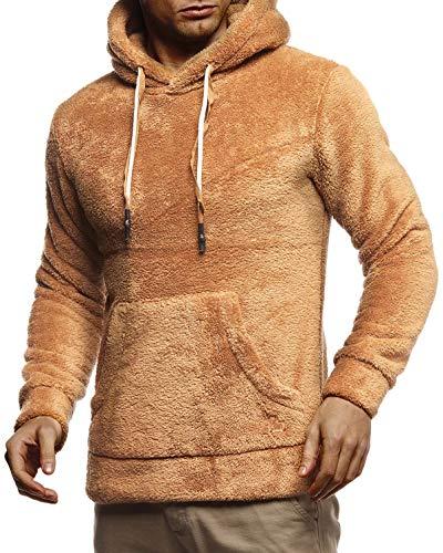 Leif Nelson Herren Hoodie Teddy Fleece Pullover mit Kapuze Kapuzenpullover für Männer Pulli Longsleeve Sweatshirt LN20105 Größe XXL Camel