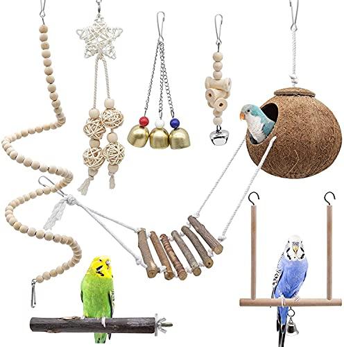 EUNEWR Vogelspielzeug für Vögel Vogel Papagei Spielzeuge Holz Papageienspielzeug Hängend Schwingen Klettern Hängematte für Sittiche, Conure, Aras, Finken,7 Stück