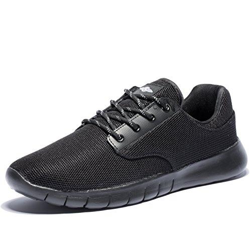 KENSBUY Men's Running Shoes Laces Lightweight Sneakers Allblack EU46