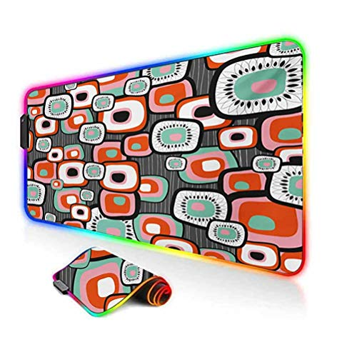 RGB Gaming Mouse Pad Mat,Funky Square Shaped Lava Flowers with Abstract Inner Forms Print Computer Keyboard Desk Mat,35.6'x15.7',for Game Players,Office,Study Mint Baby Pink Orange Grey