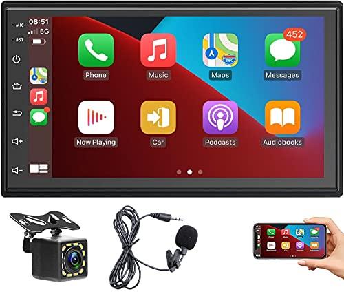 Radio de Coche Android con Carplay,Receptor Multimedia Digital 2 DIN con Pantalla táctil de 10'', Autoradio Wi-Fi con navegación GPS Bluetooth Radio FM Mirrorlink + Cámara Trasera de 12 LED