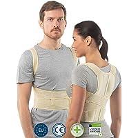 aHeal Corrector de Postura de Espalda para Hombre y Mujer | Soporte de Espalda y Columna Lumbar Superior para Corrección de Postura | Alivio del Dolor y Rehabilitación de Lesiones | Talla 1 Piel