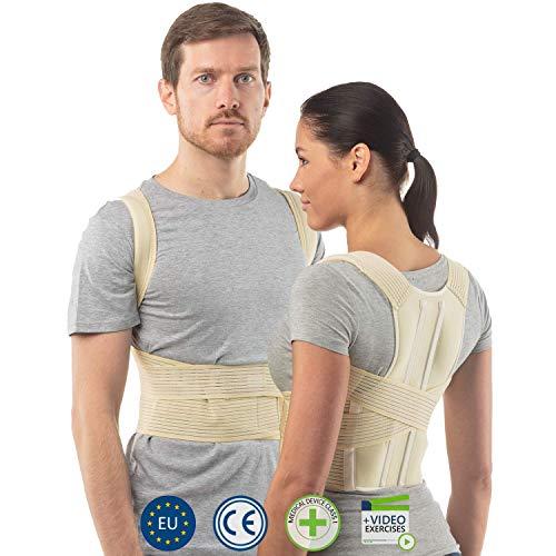 aHeal Corrector de Postura de Espalda para Hombre y Mujer | Soporte de Espalda y Columna Lumbar Superior para Corrección de Postura | Alivio del Dolor y Rehabilitación de Lesiones | Talla 3 Piel