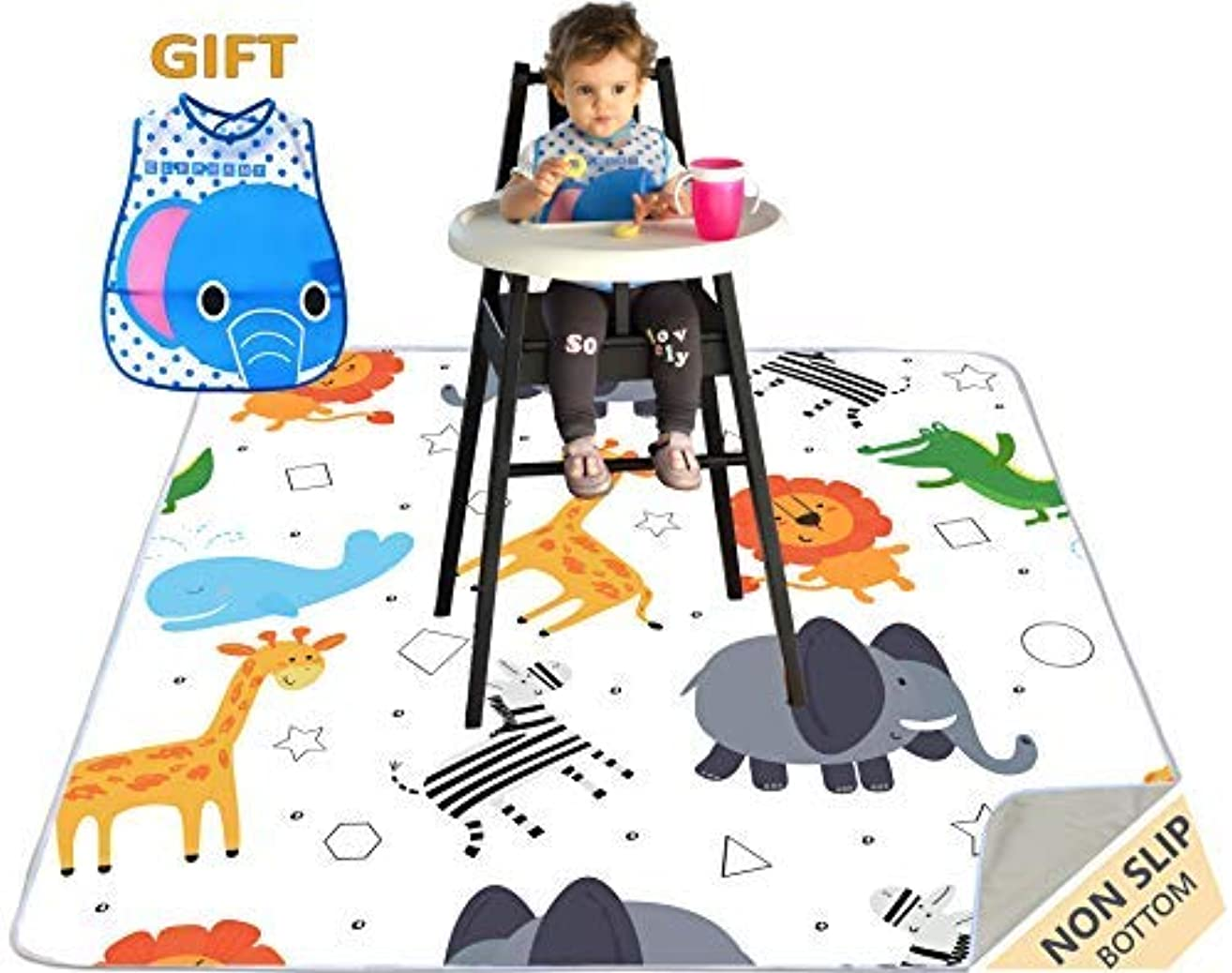 "51"" Waterproof Splat Mat for Under High Chair, Ariond Kids Washable, Anti-Slip Floor Splash Mat, Portable Feeding Mat, Play Mat and Table Cloth for Art/Crafts + Free bib"
