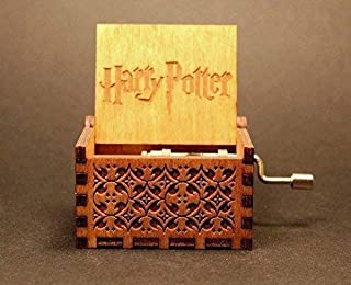 Wooden Hedwig Theme Harry Potter Hand Cranked Collectable Engraved Music Box Juke Box