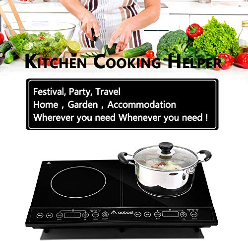 Induction Hobs Aobosi Induction Hob Double Induction Hobs Electric Hobs Cooker Portable Electric Cooker 2 Zone Double Hobs Sensor Touch Control & Ceramic Crystal Plate Easy Use 2800W