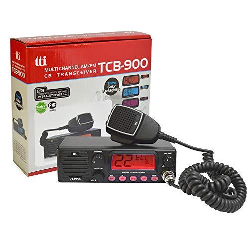 TTI-TCB Radio CB 900 Fuente de alimentación de 12-24 V con Altavoz Frontal, Am-FM, 12V-24V, 4W, Escaneo, ASQ, Bloqueo