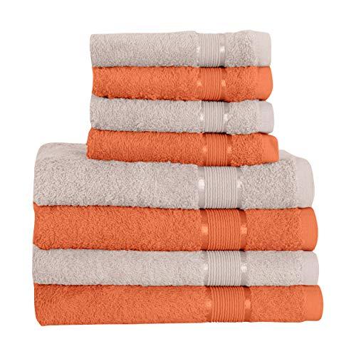 Mixibaby Juego de toallas de mano (8 piezas, 4 toallas de sauna, 4 toallas de mano, color marrón claro
