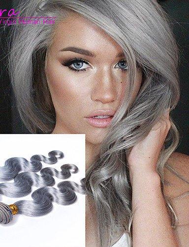 JFLDMA® 6a Grade european reine Haarkörperwelle platingrau 3pcs / lot menschliche Haarwebart Bündel silbergrau Haarverlängerungen , 18 18 20