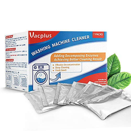 Vacplus Washing Machine Cleaner Front Loader, Powdered Washer Machine Cleaner 7 Packs, Rescue Your Washing Machine, Prevent Stains, High-Efficiency Washing Machine Cleaner for Top Loader