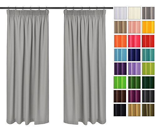 Rollmayer Vorhänge mit Bleistift Kollektion Vivid (Silbergrau 31, 135x150 cm - BxH) Blickdicht Uni einfarbig Gardinen Schal für Schlafzimmer Kinderzimmer Wohnzimmer