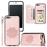 Funda de Cuero para iPhone 7 Plus, con Ranura para Tarjeta de Crédito y Billetera Plegable, PU Leather Flip Folio Case Compatible con iPhone 7 Plus, Oro Rosa