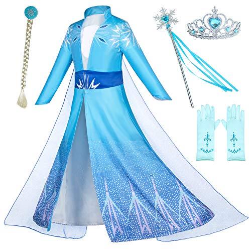 Disfraz de princesa Snow Queen Act 2 para fiesta de cumpleaños para niñas pequeñas con peluca, corona, maza, guantes accesorios de 3 a 10 años