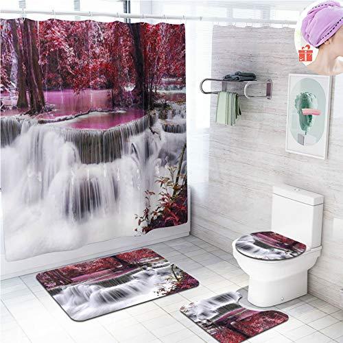 Enhome Badteppich Set 4teilig, Badvorleger Duschvorleger Bad Fußmatten Badezimmermatten Set mit Duschvorhang, rutschfeste U-Sockelteppich, Toilettenabdeung & Badematte (Roter Wald Wasserfall)