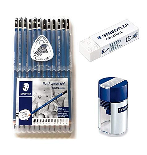 Wooden Lead Pencil By Staedtler Mars Lumograph - Pack of 12 Degrees in Practical Plastic Storage Box with Staedtler Tub Sharpener and Rasoplast Eraser