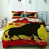 Funda nórdica beige, silueta de toro en la bandera española Grunge elementos nacionales manchas de pintura, juego de cama de microfibra impresa de calidad de 3 piezas, diseño moderno con suavidad y co