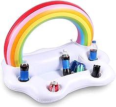 Gona Bandeja de flotación hinchable para piscina, arco iris, ensalada, comida, bebida, helado, vino, frutas, bufé, refrigerador, tabla para fiestas