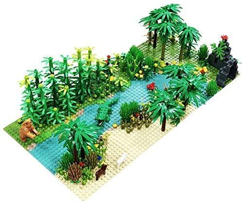 WLD Regenwald Teile Tier Green Grass Jungle Bush Blume Baum Pflanzen Bausteine Diy Zusammenbauen Kompatibel Alle Marken