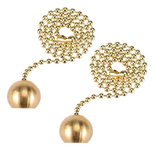 sourcing map 12 inch Brass Pull Chain Ornaments Decorative Ball Pendant for Ceiling Fan Light Pack of 2