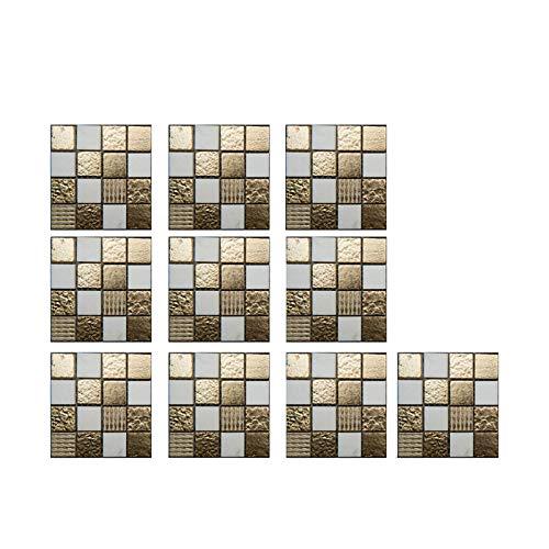 LICCC 10 unids/Set Pegatinas de Azulejos de Cristal 3D DIY Etiquetas engomadas Autoadhesivas Impermeables de la Cocina Cocina Baño de la Cocina Pegatina de azulejo de Las calcomanías (Color : A)