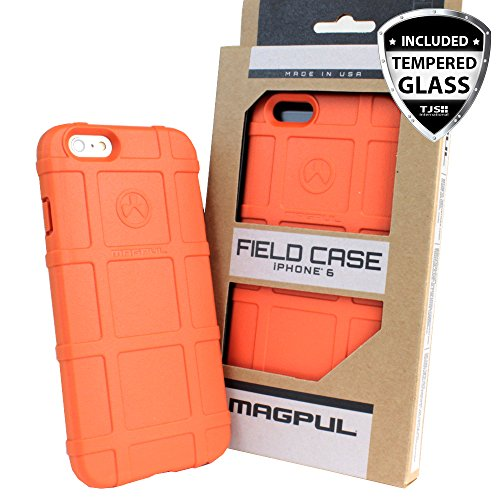 Case for iPhone 6/iPhone 6s, with TJS [Tempered Glass Screen Protector] Magpul [Field] MAG484-ORG Polymer Cover Retail Packaging Compatible Apple iPhone 6/iPhone 6s 4.7' (Orange)