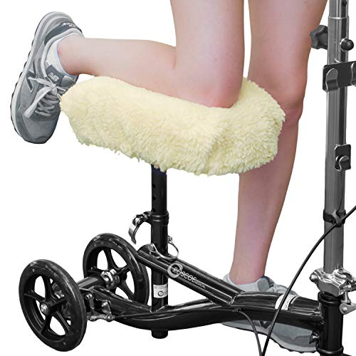 RMS Knee Walker Pad Cover  Plush Synthetic Faux Sheepskin Scooter Seat Cushion  Padded Foam for Comfort During Injury  Washable and Reusable  Fits Most Knee Scooters