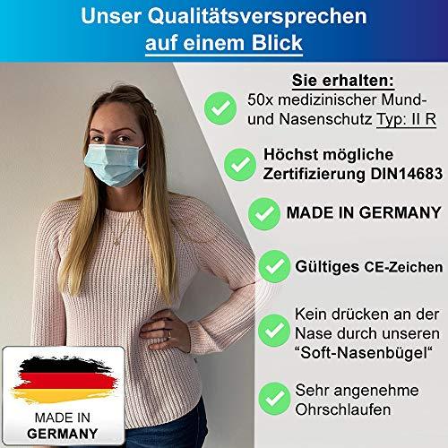 Medizinische Op Masken (MADE IN GERMANY) Typ IIR (CE Zertifiziert) DIN EN 14683 (50 Stück) Mundschutz Masken Einwegmaske Gesichtsmaske Schutzmaske