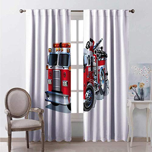 Toopeek Blackout curtain Fire Brigade Vehicle 2 panels W96 x L96 Inch