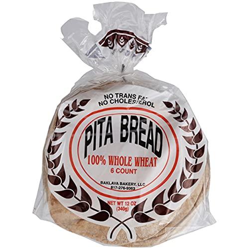 Baklava Bakery, Bread Pita 100% Whole Wheat, 13 Ounce