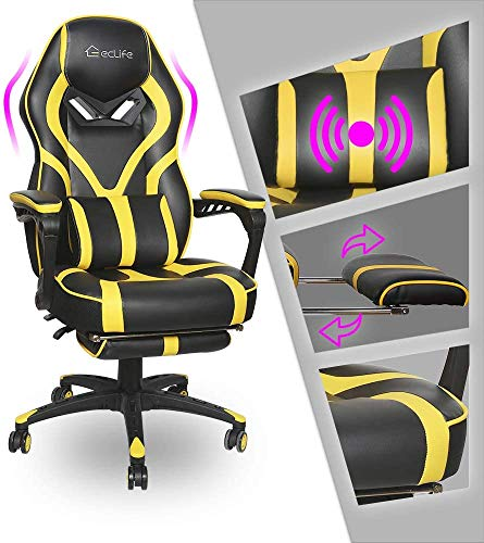 Video Gaming Chair Racing Recliner - Ergonomic Adjustable Padded Armrest Swivel High Back Footrest Headrest Lumbar Support PU Leather Breathable Seat Cushion Home Office Massage (Black & Yellow)