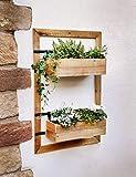 Dekoleidenschaft Wand-Pflanzer Industrial aus Holz, mit 2 Blumenkästen, für Balkon, Terrasse, Garten