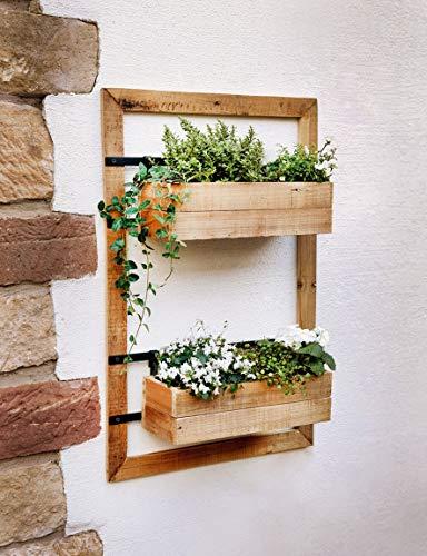 Dekoleidenschaft Wand-Pflanzer Industrial aus Holz, mit 2 Blumenkästen