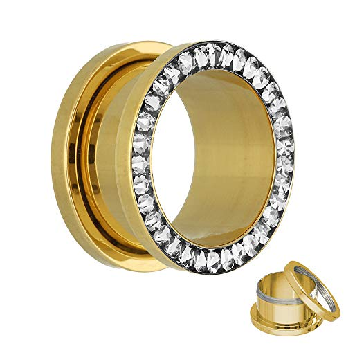 Flesh Tunnel - Gold - Kristall - Klar - Schutzschicht 2 mm