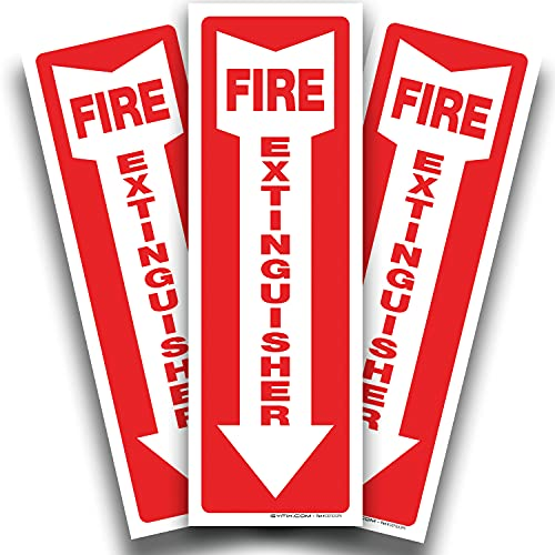 Fire Extinguisher Signs Stickers – 3 Pack 4x12 Inch – Premium Self-Adhesive Vinyl Decal, Laminated for Ultimate UV, Weather, Scratch, Water & Fade Resistance, Indoor & Outdoor