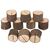10Pcs Titolare della carta Stump Shape Wedding Party Place Card Holder Stand Number Table Clip Holder Card