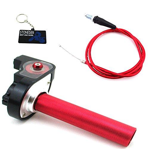 STONEDER Poignée d'accélérateur 1/4 de tour rouge + câble pour moto hors route 50 110 125 140 160 cc