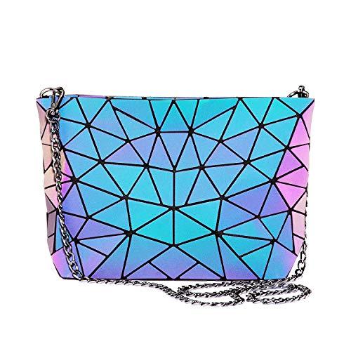LOVEVOOK Geometrische Tasche Umhängetasche Damen, Cross Body Bag, Schultertasche mit Reißverschluss, Leuchtend Holographic Tasche mit Kettenriemen, PU Leder