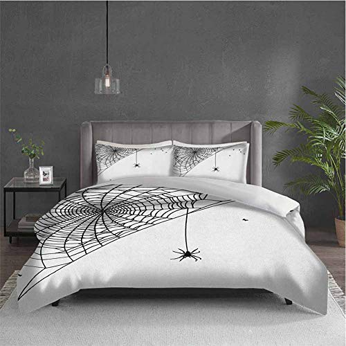 Spider Web 3-pack (1 duvet cover and 2 pillowcases) bedding Corner Cobweb with a Hanging Insect Hand Drawn Style Gothic Design with Flies Polyester (Full) Black White