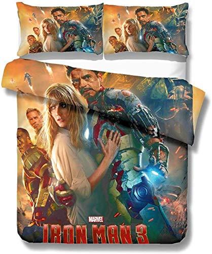 QWAS Avengers Marvel - Juego de ropa de cama, 1 funda nórdica y 2 fundas de almohada, impresión digital 3D, exquisito diseño (V01,140 x 210 cm + 80 x 80 cm x 2)