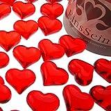 EinsSein ca. 95x Dekosteine Funkelnde Herzen 22mm rot Dekoration Streudeko Konfetti Tischdeko...