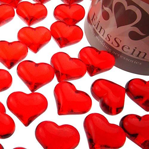 EinsSein 100x Coeurs pétillants Acrylique 22mm rouge diamant sable decoratif cristaux cristal diamants strass mariage synthétique perles confettis décoration de table decoration deco anniversaire déco