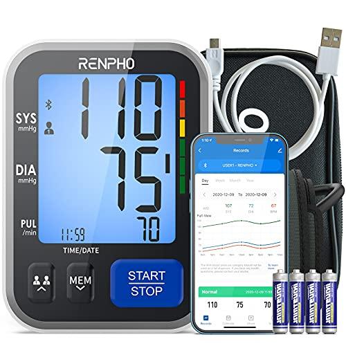 RENPHO Inteligencia Tensiómetros de Brazo- Monitor de Presión Sanguínea de Doméstico,Manguito Grande,Pantalla Grande,Dos Usuarios,Aplicación Para iOS y Android,Ilimitados en Memoria