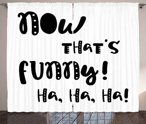 ABAKUHAUS lustige Wörter Rustikaler Vorhang, Witze und Lachen, Wohnzimmer Universalband Gardinen mit Schlaufen und Haken, 280 x 245 cm, Weiß Schwarz