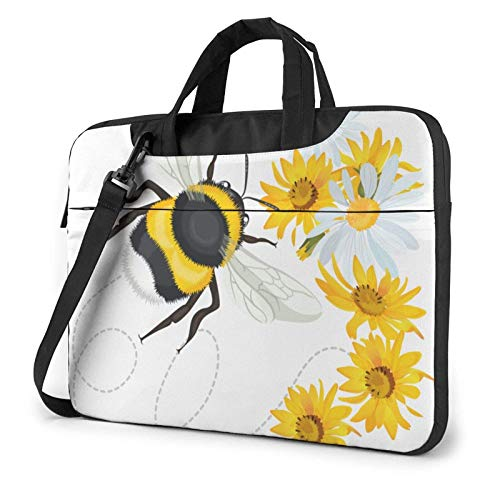 15.6 inch Laptop Shoulder Briefcase Messenger Bumble Bee Head Trace Tablet Bussiness Carrying Handbag Case Sleeve