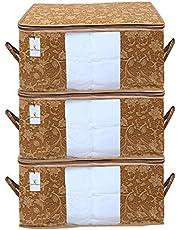 Kuber Industries Underbed Storage Bag, Storage Organiser, Blanket Cover Set of 3 - Beige, Extra Large Size, CTKUBM11