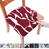 smiry Printed Dining Chair Seat Covers - Stretchy Removable Washable Upholstered Chair Seat Slipcover Protector (Set of 2, Red)